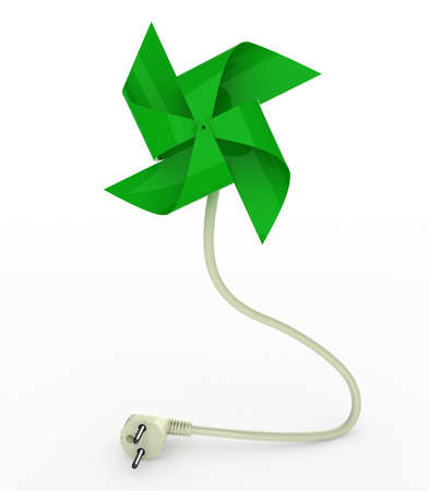 wind wheel: green pinwheel on energy plug cable, 3d illustration Stock Photo