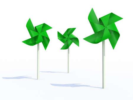 spinner: three green pinwheel on white background, 3d illustration Stock Photo