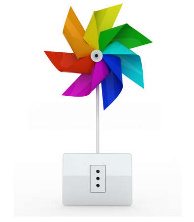 pinwheel toy: multicolor pinwheel over energy plug on white background, 3d illustration
