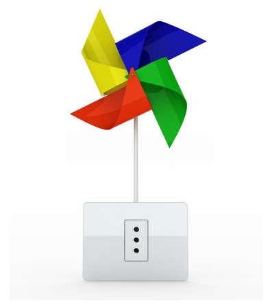 spinner: multicolor pinwheel over energy plug on white background, 3d illustration
