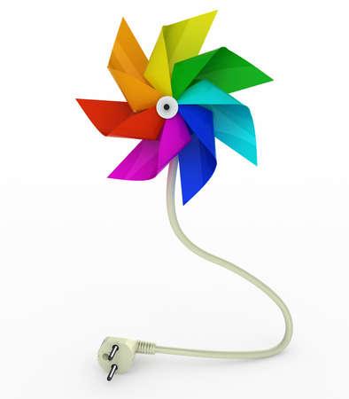 wind wheel: multicolor pinwheel on energy plug cable, 3d illustration