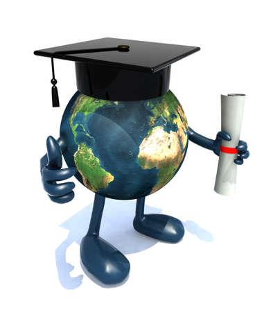graduacion caricatura: Globo con los brazos y las piernas, casquillo de la graduación y diploma, ilustración 3d