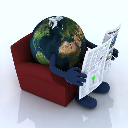 facts: planet earth reading a newspaper from the couch, 3d illustration