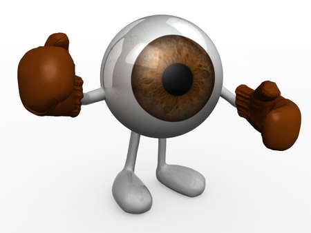 cornea: eyeball with arms and legs and boxing gloves fighting, 3d illustration Stock Photo