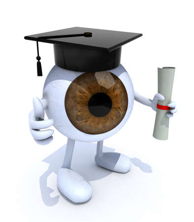 eyeball with arms and legs, Graduation Cap and Diploma, 3d illustration illustration