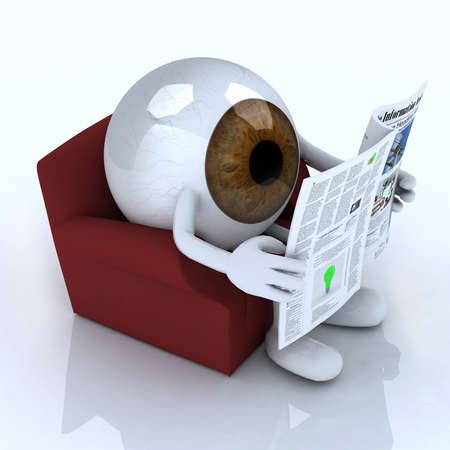 news paper: big eye ball reading a newspaper from the couch, 3d illustration