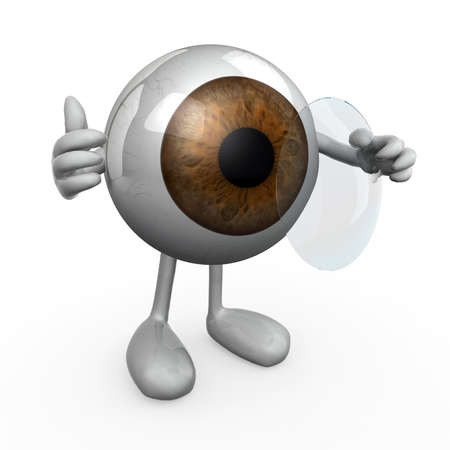 contact lens: eye wearing a contact lens, 3d illustration Stock Photo