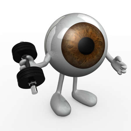 cornea: eyeball with arms and legs does weight training, 3d illustration Stock Photo