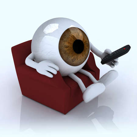 cornea: big eye ball watching television from the couch with remote control on white background, 3d illustration