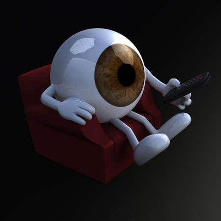 one eyed: big eye ball watching television from the couch with remote control on black background, 3d illustration
