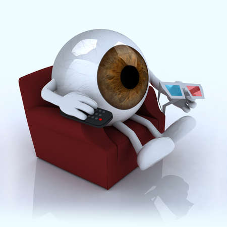 eye ball: globo ocular grande viendo la televisi�n desde el sof� con mando a distancia y gafas estereosc�picas, ilustraci�n 3d Foto de archivo