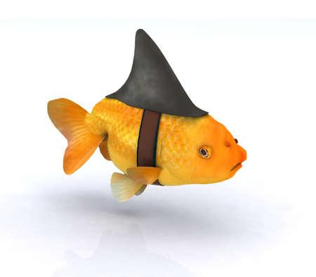 fins: fake shark fin on little redfish, 3d illustration