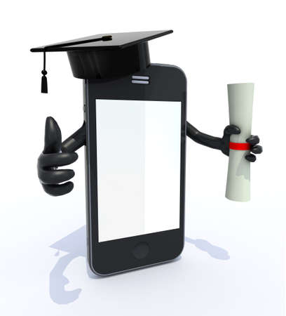 academic touch: smartphone with arms, Graduation Cap and Diploma, 3d illustration