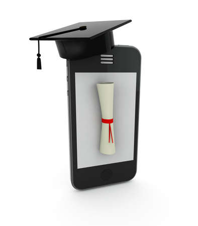 smartphone with Graduation Cap and Diploma on the screen, 3d illustration illustration