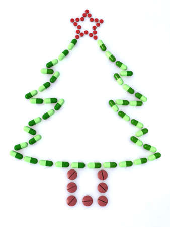 new medicine: christmas tree made with colored pills Stock Photo