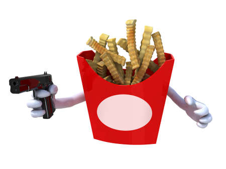 potato chips with arms who hold a gun and blank label facing, dangerous food concept photo