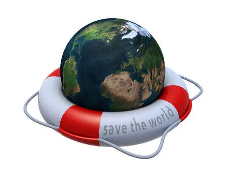Earth globe in lifebuoy over white, 3d illustration illustration
