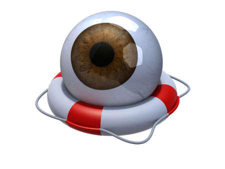eye wear: Brown eyeball in lifebuoy over white, 3d illustration Stock Photo