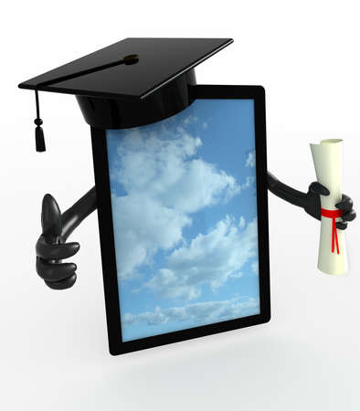 academic touch: tablet pc with arms, Graduation Cap and Diploma, 3d illustration Stock Photo