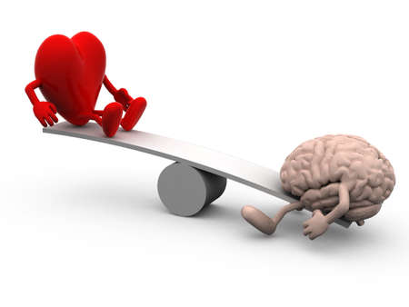 seesaw with heart and brain, 3d illustration
