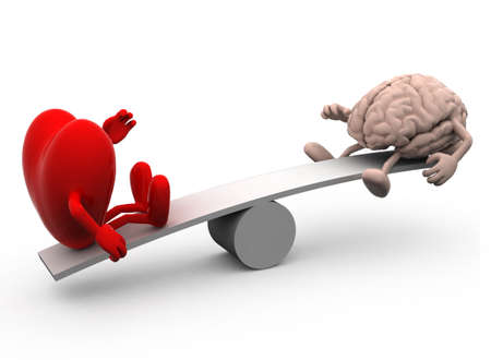 doubting: seesaw with heart and brain, 3d illustration