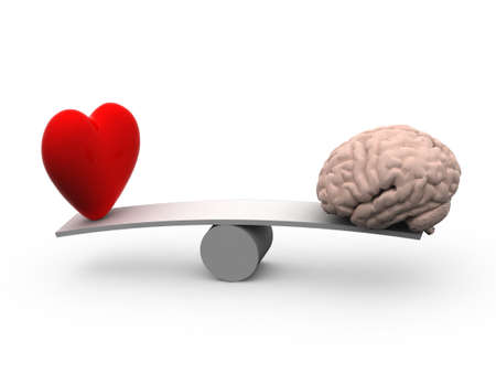 feelings and emotions: seesaw with heart and brain, 3d illustration