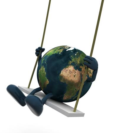 swaying: Planet earth with arms and legs on a swing, 3d illustration