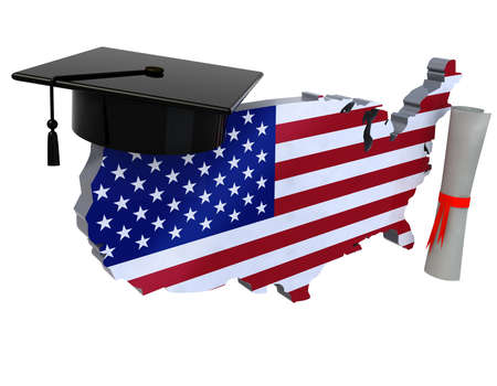 united states maps with Graduation Cap and Diploma, 3d illustration