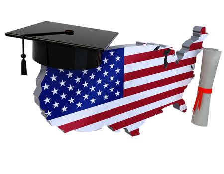 verenigde staten kaarten met graduation cap en diploma, 3d illustratie Stockfoto