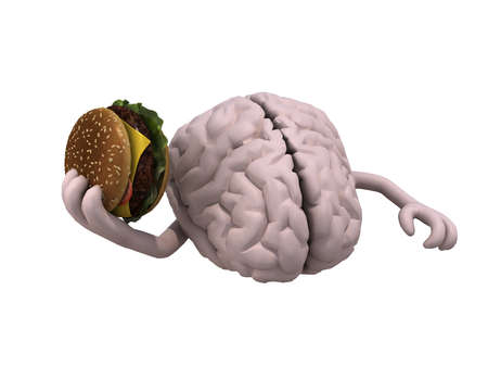 unhealthy food: human brain with arms and a hamburger on hand, 3d illustration Stock Photo