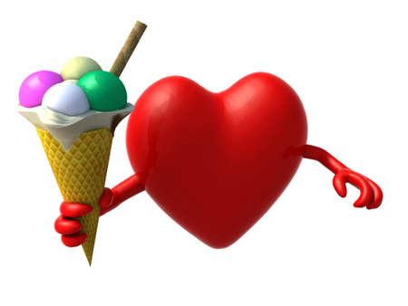 greedy: heart with arms and ice cream on hand, 3d illustration