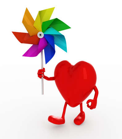 angel 3d: cartoon heart with windmill rainbow colored, 3d illustration Stock Photo