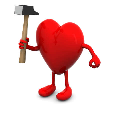 cardia: red heart with arms and legs and hammer on hand, 3d illustration