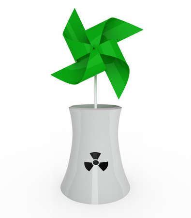 green pinwheel over nuclear industry on white background, 3d illustration illustration