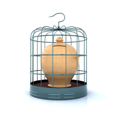 terracotta money bank closed in a bird cage. 3d illustration over white illustration