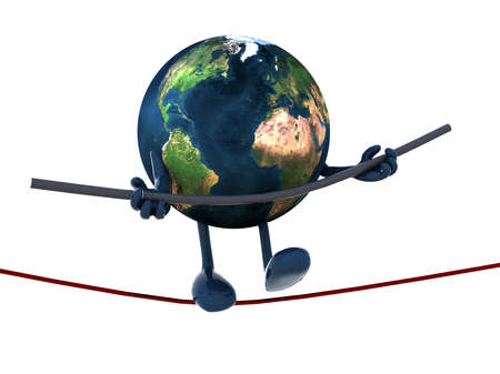 planet earth acrobat who walks on a wire, 3d illustration illustration