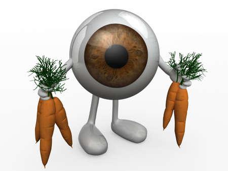 eye ball: bola del ojo con los brazos y las piernas y las zanahorias en manos, ilustraci�n 3d