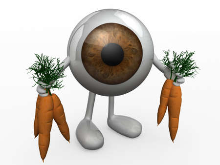 eye ball: eye ball with arms and legs and carrots on hands, 3d illustration Stock Photo