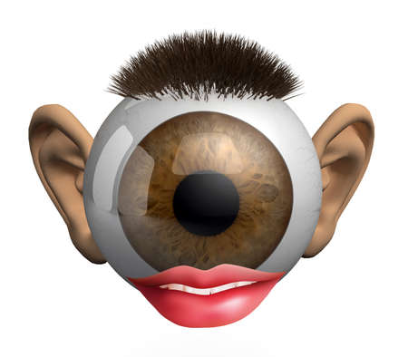 eyeball with ears, lips and hair, concept of the senses, 3d illustration