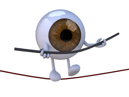 eyeball acrobat who walks on a wire, 3d illustration illustration