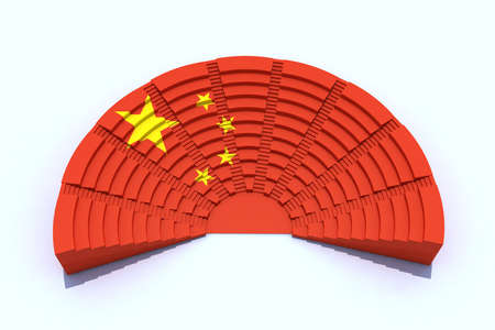 senate: China parliament with chinese flag colors, 3d illlustration