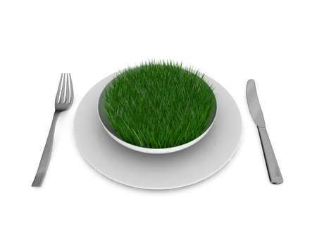 Grass in a plate, with fork and knife, isolated over white, 3d ilustration photo