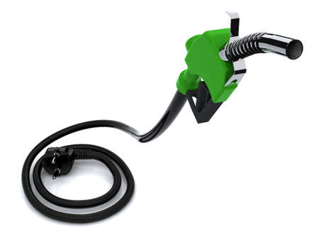 greener: Fuel pump with electric cable and plug  Electric recharge automotive concept