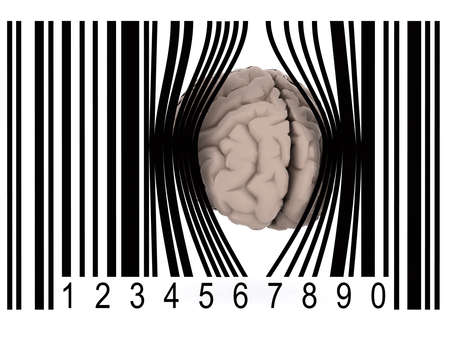 human brain that gets out from a bar code, 3d illustration Archivio Fotografico