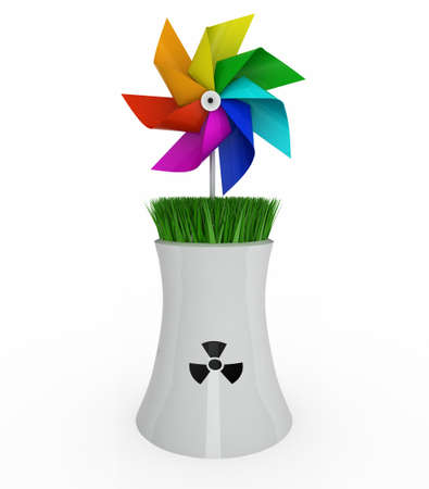 rainbow pinwheel over nuclear industry on white background, 3d illustration illustration
