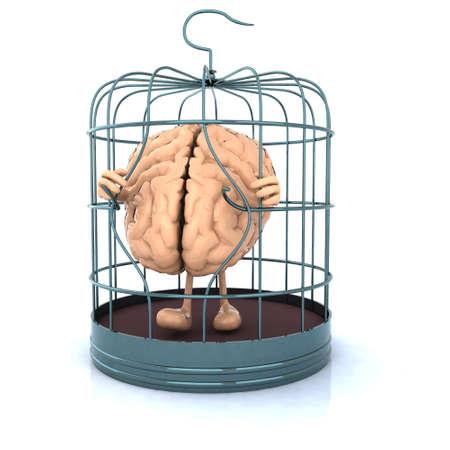 menselijke hersenen die vlucht voor de vogelkooi