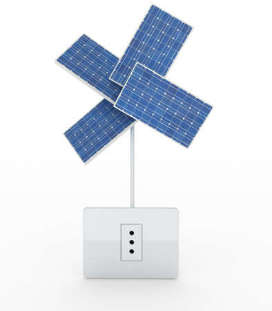 four solar panels like a flower over energy plug on white background, 3d illustration illustration