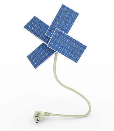 energy efficient: four solar panels like a flower over energy cable on white background, 3d illustration