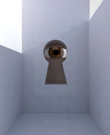 peephole: eye in keyhole into room, 3d illustration Stock Photo