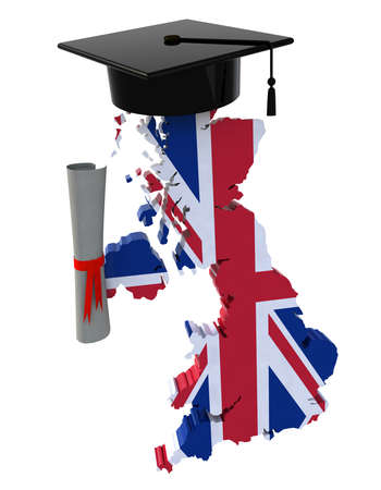 english: England maps with Graduation Cap and Diploma, 3d illustration